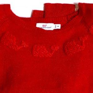Vineyard Vines red sweater with whale neckline